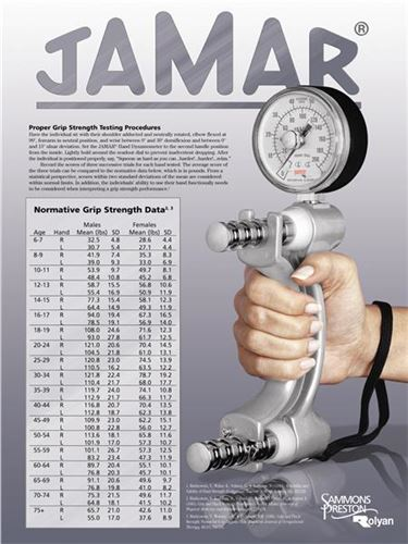 Dynamometer Grip Strength Chart Pounds : Jamar norms standard grip strength evaluation wall chart